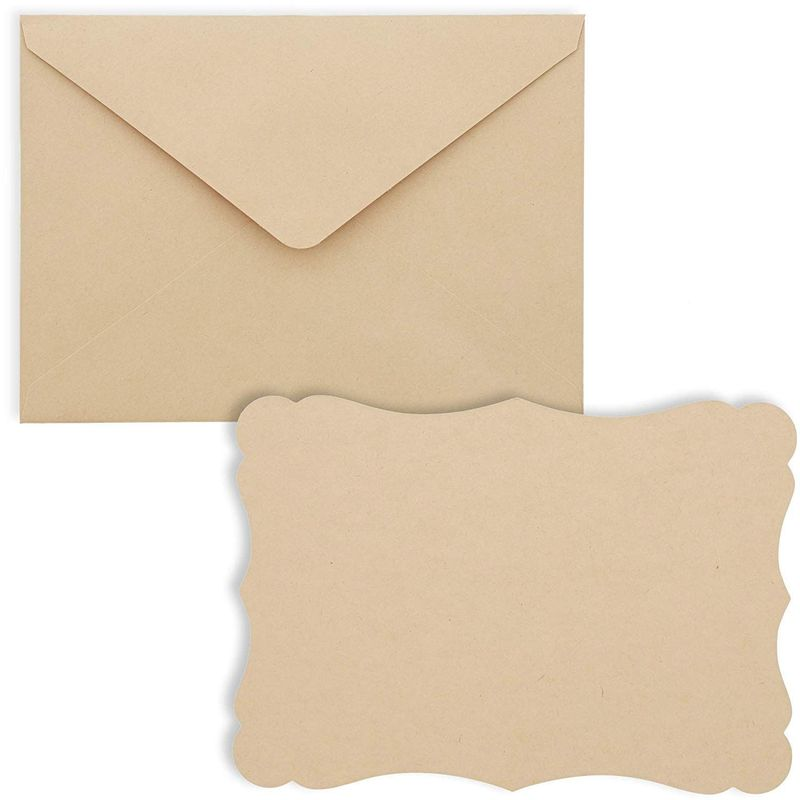 50 Pack Blank Cards with Envelopes, Vintage Kraft Cardstock for Making Invitations, 5x7