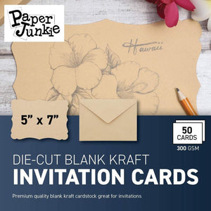 50 Pack Paper Junkie Blank Cards with Envelopes, Vintage Die Cut Cardstock for Wedding, Baby Shower and Invitations with Sticker, 5 x 7 Inches