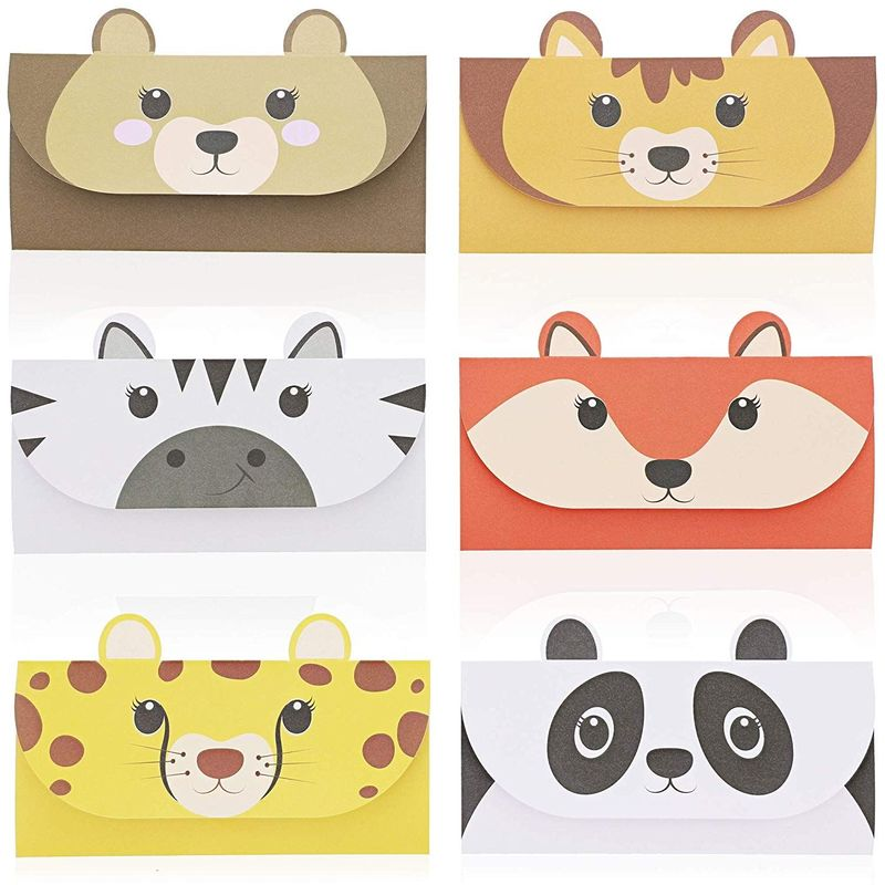 48 Pack Cute Trifold Envelopes, Lined Stationery Paper for Kids (Animal Woodland, 6.3 x 8.3)