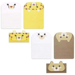 48x Cute Animal Letter Stationary Set with Envelopes for invitation, 6 designs