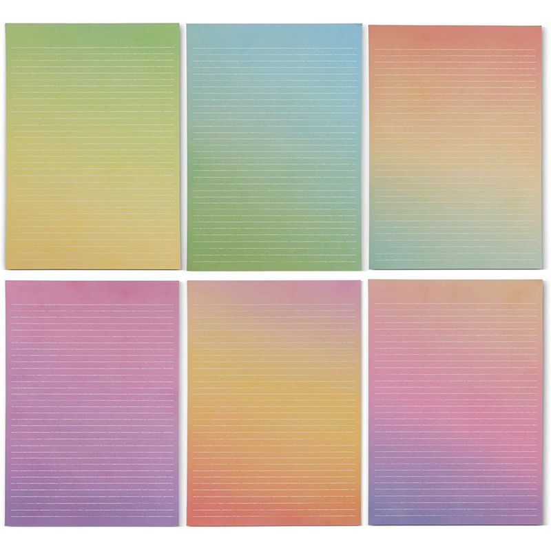 Lined Watercolor Stationery Paper and Envelopes Set (10.25 x 7.25 Inches, 90 Pieces)