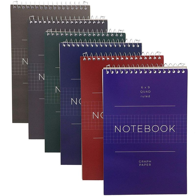 Quad Ruled Graph Paper Spiral Notepads (6 x 9 Inches, 6-Pack)
