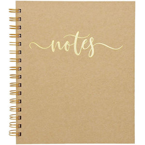 3 Pack Kraft Spiral Notebook, Gold Foil Hardcover Journal for Work & School, 70 Lined Pages