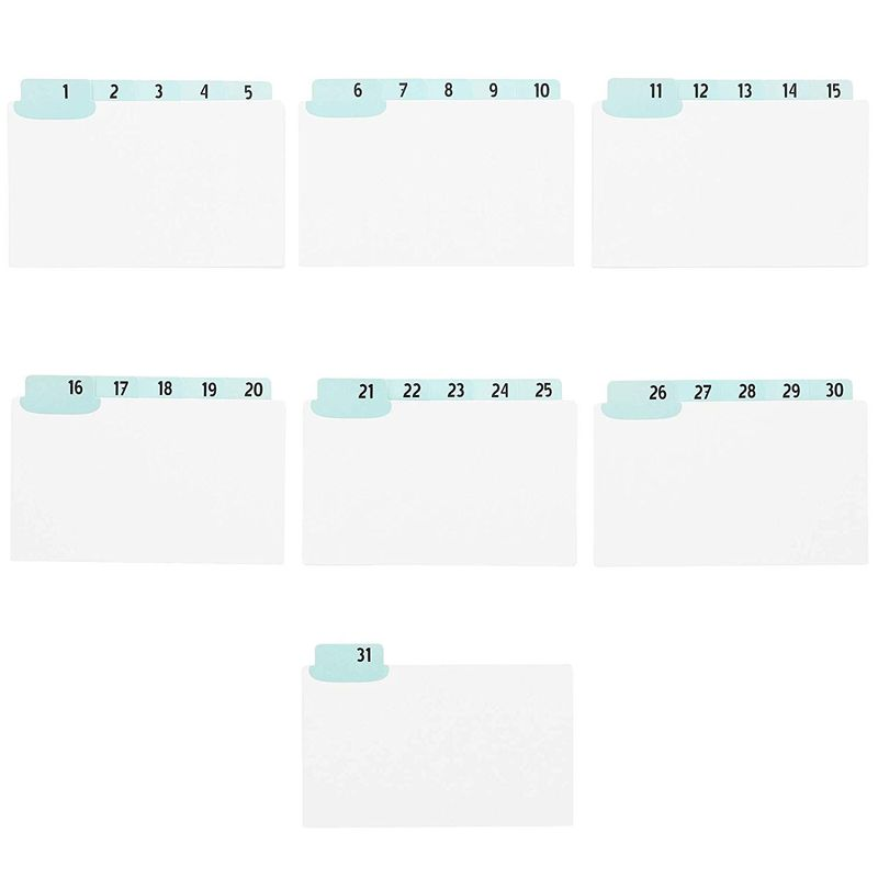 2x Daily Index Card Dividers with UV Laminated Tabs, Numbers 1-31 5 x 3.5 in