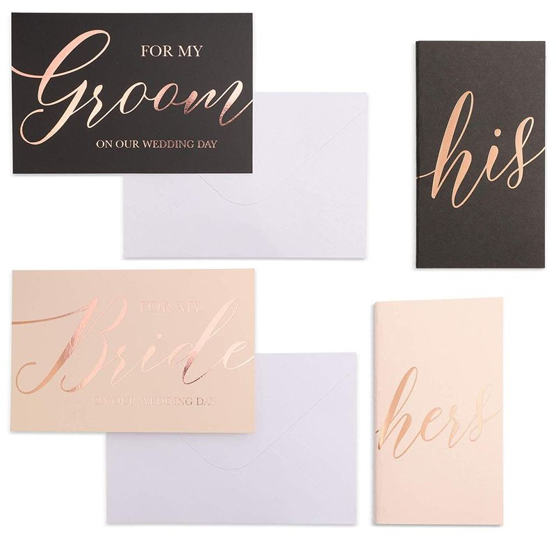 Paper Junkie Wedding Vow Books and Cards with Envelopes (4 Piece Set)