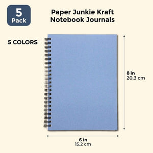 Paper Junkie Kraft Notebook Journals, Pack of 5, 5 Colors, 6 x 8 Inches