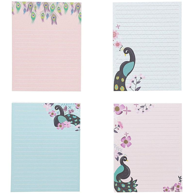 4Pack Peacock Designs Notepads Notebooks Memo Pad Lined Paper Pocket, 4.25x5.5""