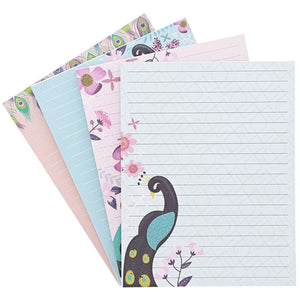 Paper Junkie Lined Journal Notepad with 4 Peacock Designs – 50 Sheets – Pack of 4
