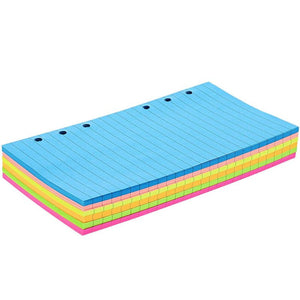 6 Hole Punch Lined Filler Paper for A6 Binders (Neon Colors, 3.57 x 6.8 In, 240 Sheets)