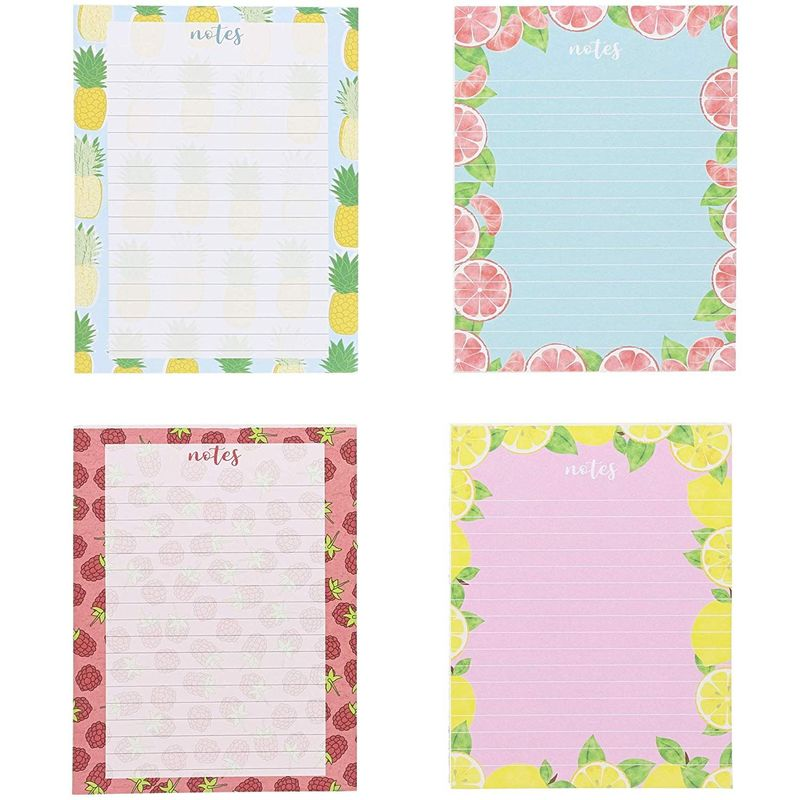 4 Pack Notepads Memo Lined To Do List with Cute Fruit Design, Small 4.25x5.5