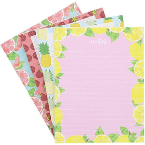 4Pack Fruit Designs Notepads Notebooks Memo Pad Lined Paper Pocket, 4.25x5.5""