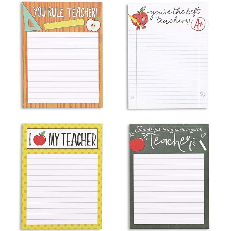 Lined Notepads for Teacher Appreciation, 4 Designs (4 Pack)