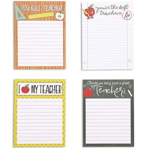 Paper Junkie Teacher Lined Notepads with 4 Designs and Colors– 50 Sheets – Pack of 4