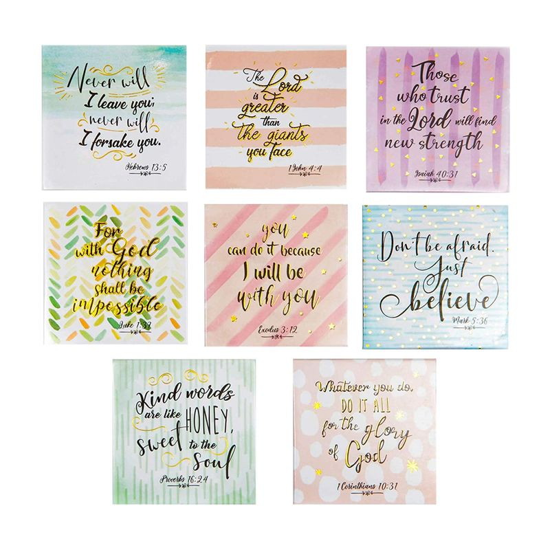 8Pcs Christian Verse Quotes Square Decorative Magnets for Fridge Refrigerator