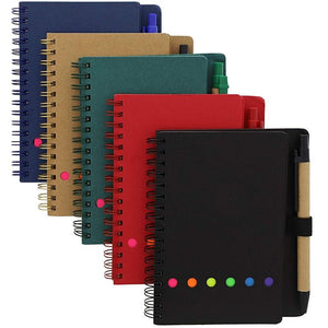 Mini Kraft Spiral Notebooks with Sticky Notes and Pen (6 Inch, 5-Pack)