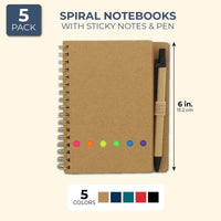 5x Kraft Spiral Mini Notebooks Notepads Note Book Pad with Sticky Notes 6""