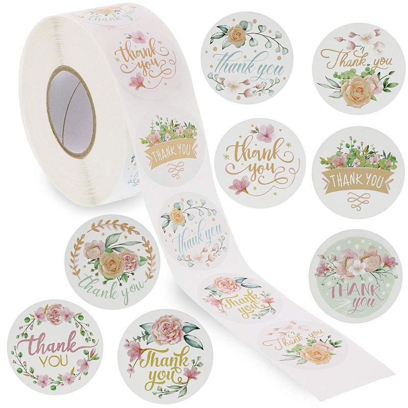 "1 Roll of 1000 pcs 1.5"" Assorted Floral Thank You Stickers Round Sealing Labels"