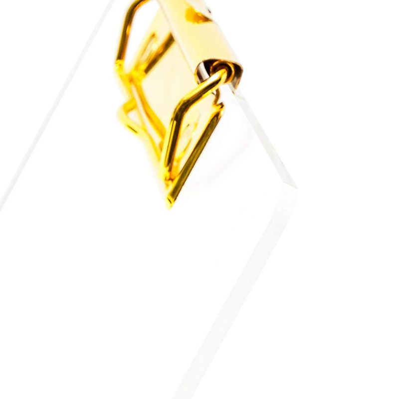 "2x Clear Transparent Clipboard w/ Gold Clip 13.8""x10.4"" fit Letter Size Paper"