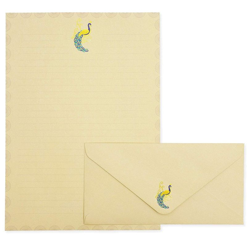 Elegant Peacock Stationery Paper with Envelopes Set (10.25 x 7.25 Inches, 48 Sheets)