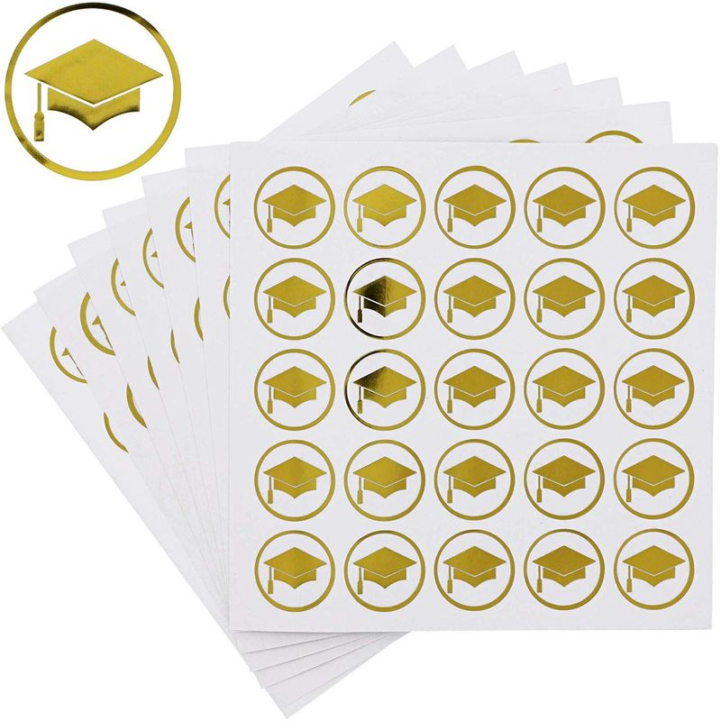 Paper Junkie Graduation Foil Sticker Labels - Pack of 200, 1 Inch, Gold Foil