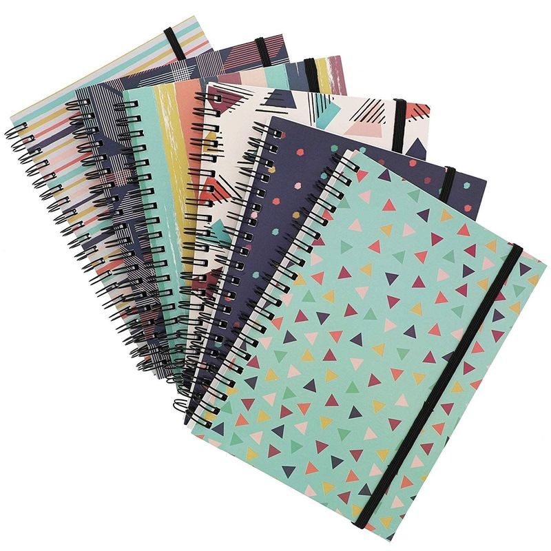 Paper Junkie College Ruled Spiral Notebooks (6 Pack) 90s Inspired Designs