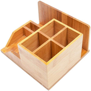 Paper Junkie Bamboo Wood Desk Organizer, 8 x 7.5 x 4 Inches