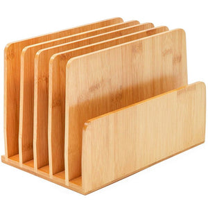 Paper Junkie Bamboo Wood Desk File Organizer, Upright, 10 x 6.5 x 7 Inches