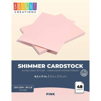 48 Pack Pink Shimmer Metallic Cardstock Paper Crafts 8.5x11in, Printer Friendly