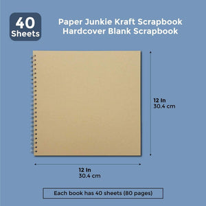 Paper Junkie Hardcover Kraft Scrapbook (Blank, 40 Sheets, 12 x 12 in)