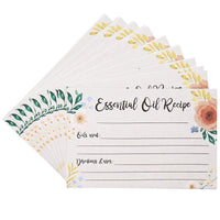 50 Pack 4x6 Essential Oil Recipe Cards DIY Aromatherapy Diffuser Perfume Guide