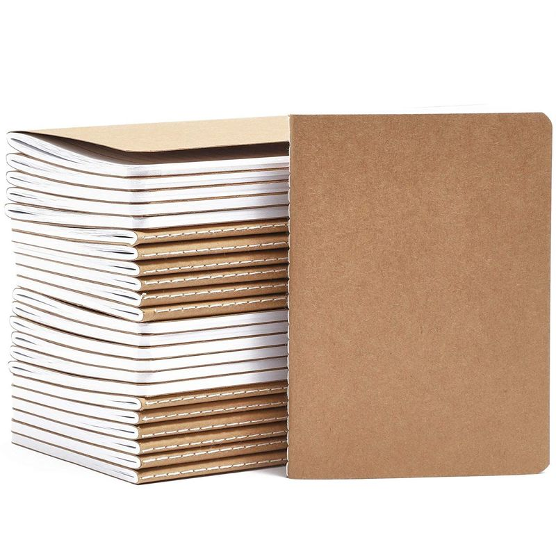Paper Junkie Lined Pocket Journal Notebooks (A6 Size, Brown, Kraft Paper, 24 Pack)