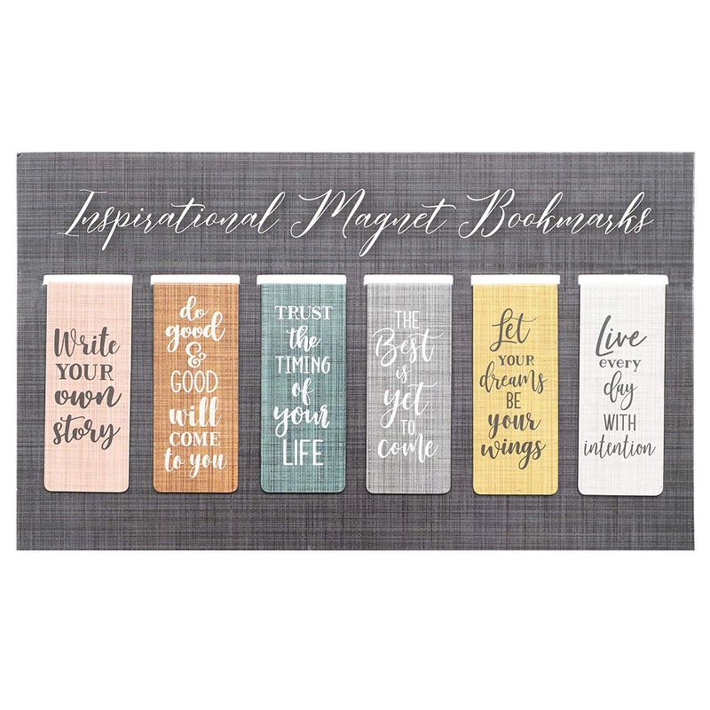 Magnetic Bookmarks with Inspirational Quotes (6 Designs, 36 Pack)