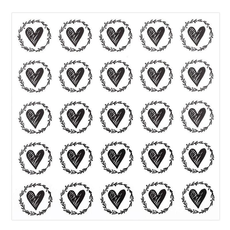 Paper Junkie Heart Envelope Seals with Olive Leaf Wreath for Invitations & Greeting Cards (Black, 250 Pack)