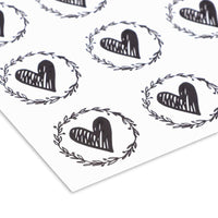 250x Heart Envelope Seals with Olive Leaf Wreath for Invitations, Black 1.25 in.