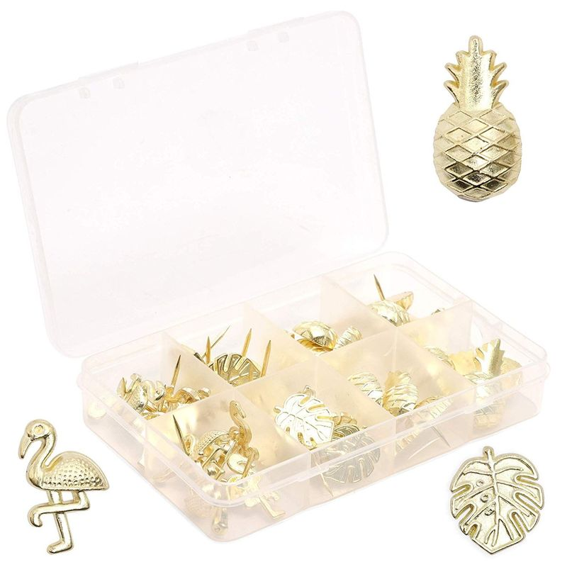 36x Tropical Decorative Push Pin Set for Cork Boards, Gold, 3 Designs, 0.6 inch