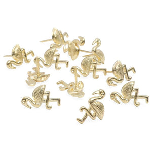 Gold Push Pins, Tropical Office Supplies (3 Designs, 36 Pack)