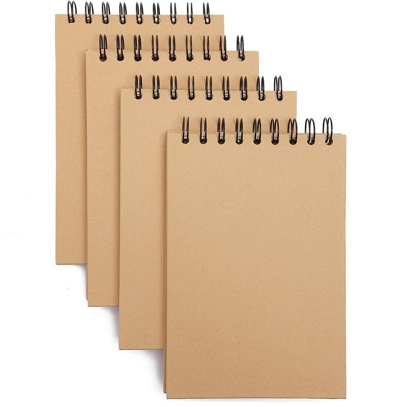 Kraft Cover Spiral Bound Travel Journal Notebooks (7.8 x 5 in, 4 Pack)