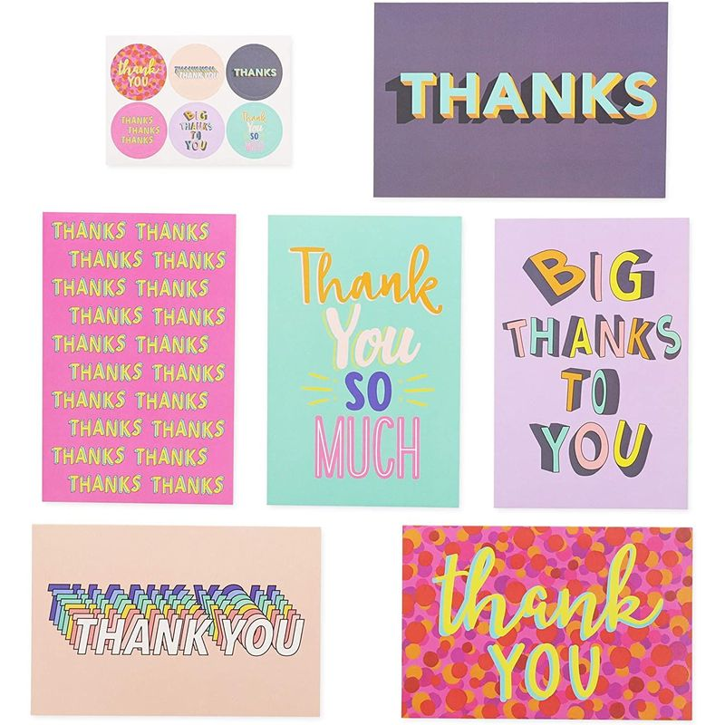48-Pack Thank You Card with Envelopes & Stickers Bulk, 6 Trendy Colorful Designs