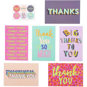 Trendy Thank You Note Cards with Stickers and Envelopes (4 x 6 in, 48 Pack)