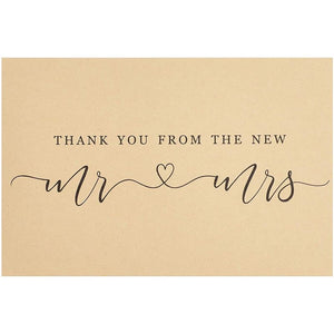 120-Count Wedding Thank You Cards with Kraft Paper Envelopes for New Mr & Mrs