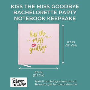 Kiss the Miss Goodbye Bachelorette Party Notebook Keepsake, Gold Foil Imprints