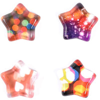 24-Piece Star Shaped Crystal Glass Fridge Whiteboard Magnets w/ Colorful Pattern