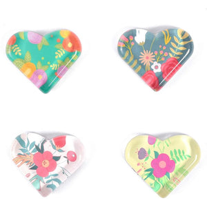 Floral Heart Shaped Glass Fridge Magnets (24 Pack)