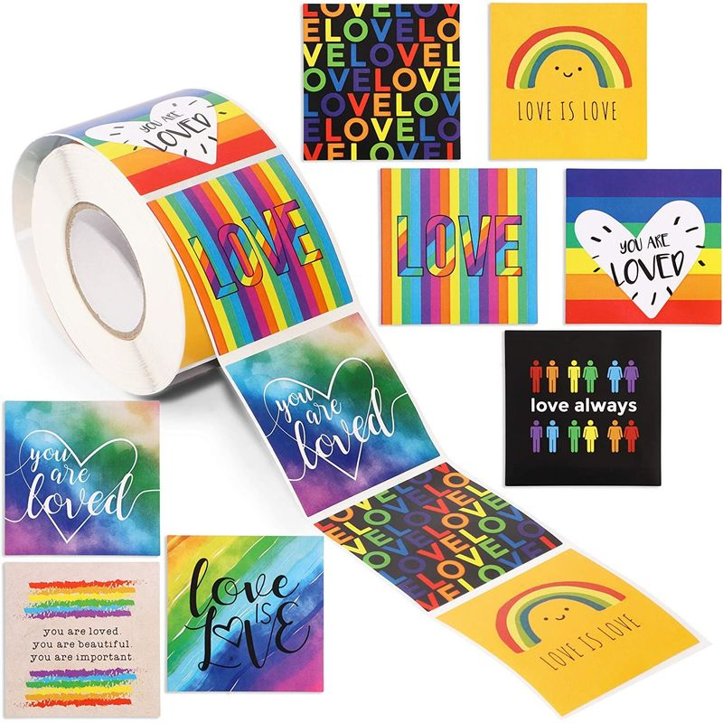 Gay Pride Rainbow Sticker Roll (500 Pack)