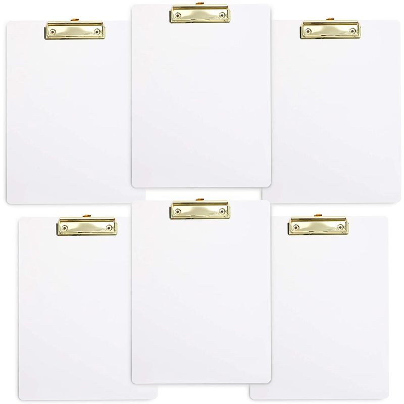 White Clipboards with Low Profile Clip (8.75 x 11.6 in, 6-Pack)