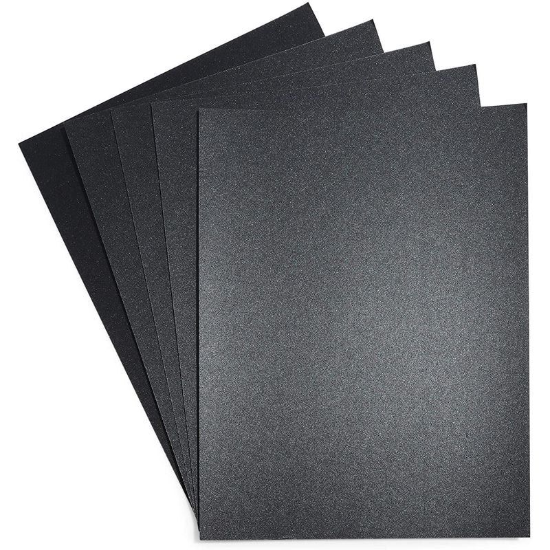 Black Shimmer Paper, Metallic Sheets for Crafts (8.5 x 11 in, 50 Pack)