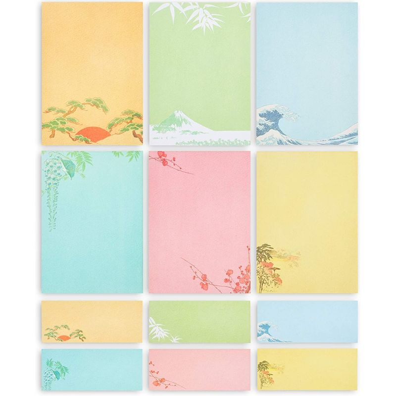 Japanese Stationery Paper and Envelopes in 6 Designs (7.25 x 10.25 In, 60-Pack)