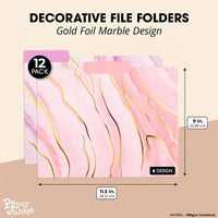 "12-Pack Decorative File Folders, Gold Foil Marble with Feature Tabs, 9"" x 11.5"""