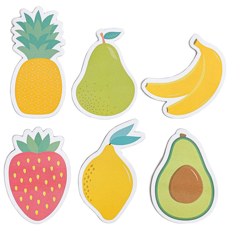 Fruit Shaped Sticky Notes with 20 Sheets Each (6-Pack)