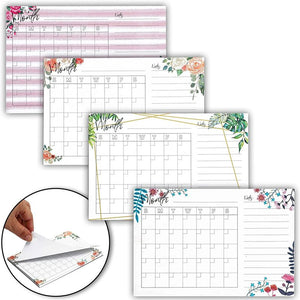 4 Pack to Do List Calendar Sticky Notes, Monthly Planner (Watercolor Floral, 4x6)
